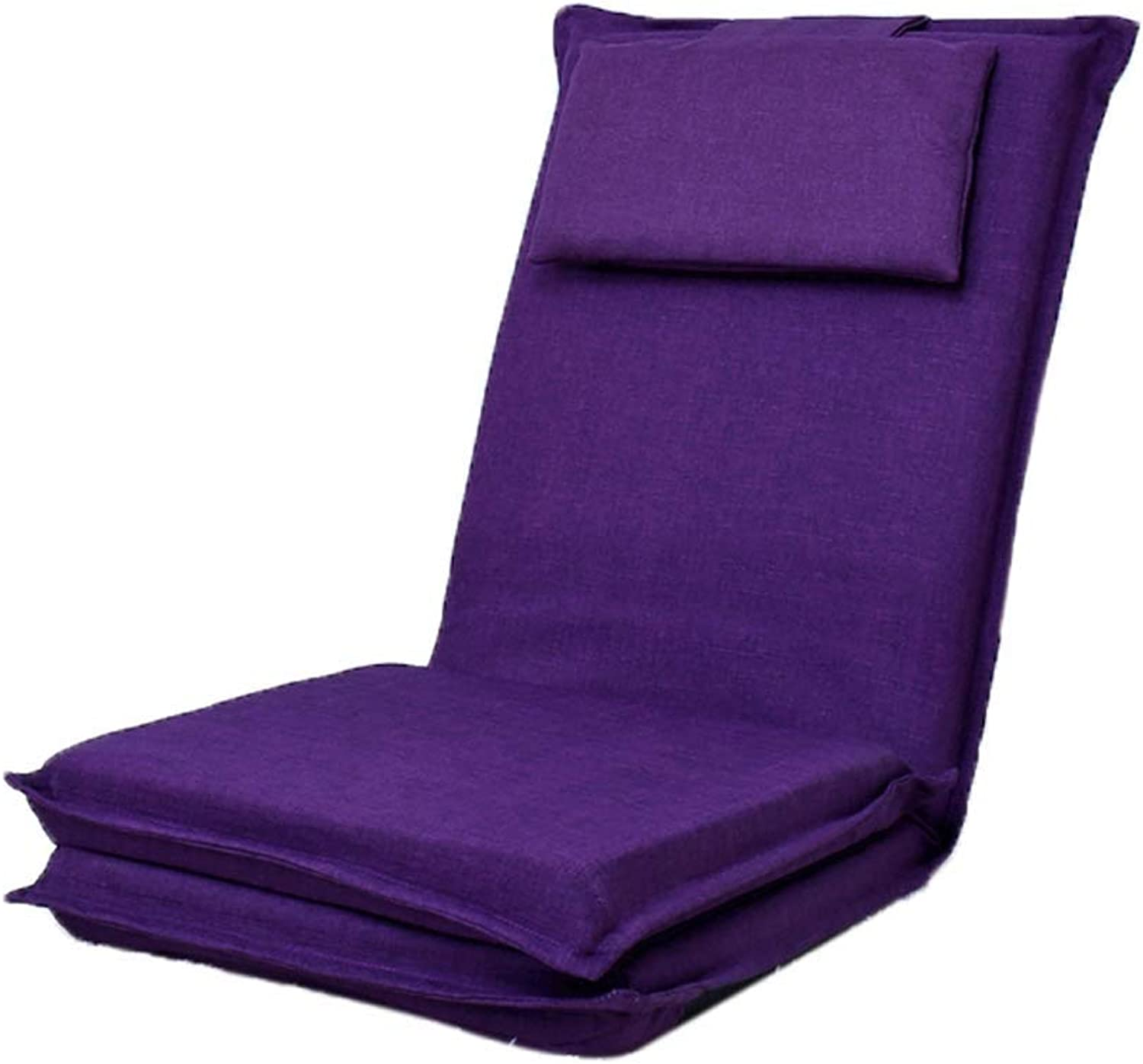 Floor Chair, Extended Foldable Back Lazy Couch Home Meditation Chair Computer Chair, Four colors Optional (color   Purple)