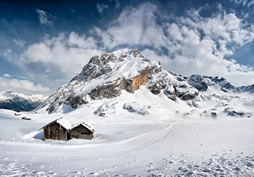 wandmotiv24 Fototapete Dolomiten, Alpen, Italien XL 350 x 245 cm - 7 Teile Fototapeten, Wandbild, Motivtapeten, Vlies-Tapeten Winter-landschaft, Bergen M0867