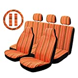 Copap Orange Car Seat Covers Full Set 10pc Stripe Multi-Color Baja Saddle Blanket Weave Seat Cover Universal Fit for Cars & Vans with Steering Wheel Cover Seat Belt Cover
