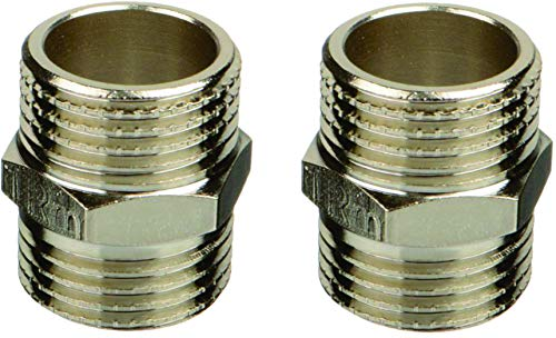 2 PC Inter Fittings Brass Nickel Pipe Threaded Hex Nipple 1/2' Male x 1/2' NPT Male