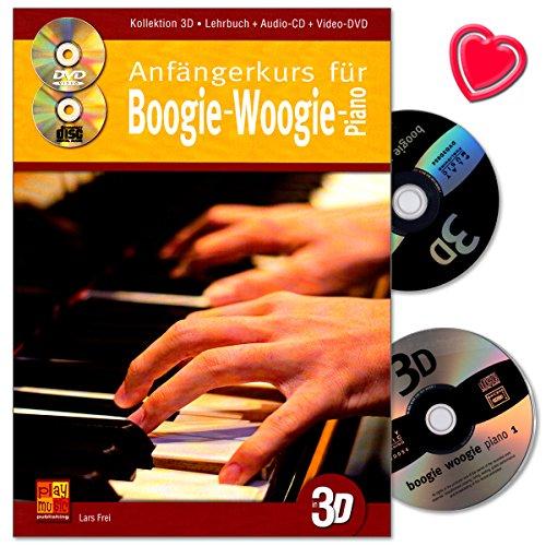 Anfängerkurs für Boogie-Woogie-Piano von Lars Frei - Übungen, Stücke , Licks, Lick-Prototypen uvm ... - Lehrbuch mit CD, DVD und bunter herzförmiger Notenklammer