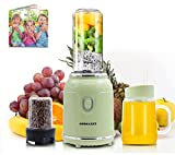 Smoothie Blender - Blender for Shakes and Smoothies, Personal Blender with Coffee Grinder, Protable Cup (18/20 Oz ), 2 Stainless Steel Blade Cover, Spices, Fruit and Bean Coffee, 300W, Green