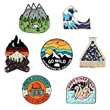 BOLLH - 7 Outdoors Enamel Pins For Backpacks,Enamel Pins Set,Backpack Pins,Hiking Memorial Brooch