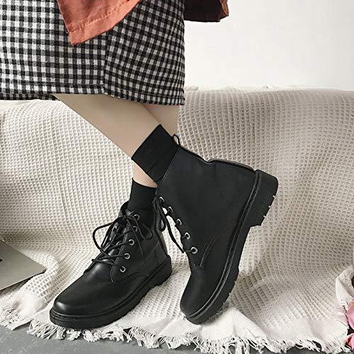 Shukun enkellaarsjes Wilder zwarte herfst en winterlading, dames-schooldrager, hoge laarzen Martin nodigt individuele laarzen op