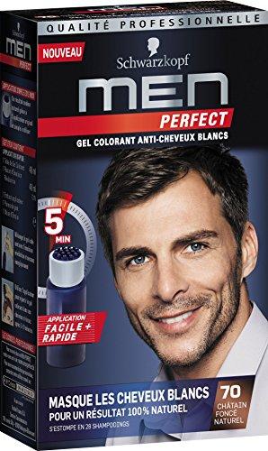 Schwarzkopf - Men Perfect - Gel Colorant Anti-Cheveux Blancs Homme - Coloration Cheveux Homme - Châtain Foncé Naturel 70