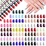 Kalolary 1056 Pieces Short Colorful False Nails, 44 Sets 2 Styles Full Cover Fake Nails Tips False Gel Nails Acrylic Artificial Press on Nails for Women Girls Nail Art Salon Decorations (22 Colors)
