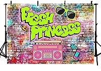 新しいフレッシュプリンセスベビーシャワーパーティーデコレーションバナーフォトスタジオの背景ピンクの落書きレンガの壁ヒップホップヴィンテージディスコネオンガールの誕生日の背景写真撮影のための小道具7x5ft