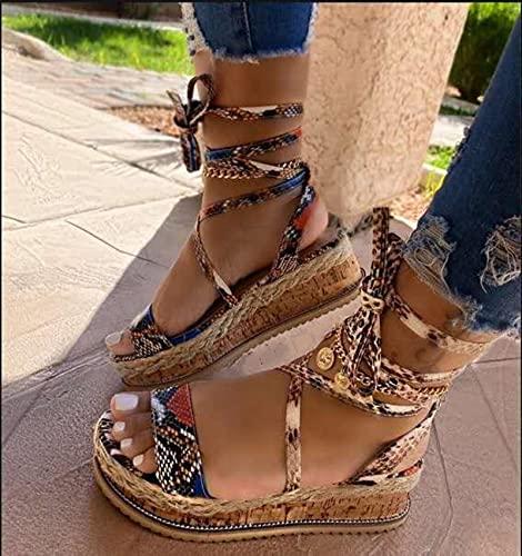 KovBexJa Sandalias De Verano para Mujer Tacones con Plataforma Correa Cruzada Punta del Tobillo 2021 Moda Fiesta En La Playa Zapatos para Mujer Caqui