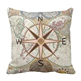 Emvency Throw Pillow Cover Map Baby World Compass Rose Room Decorative Pillow Case Home Decor Square 20 x 20 Inch Pillowcase