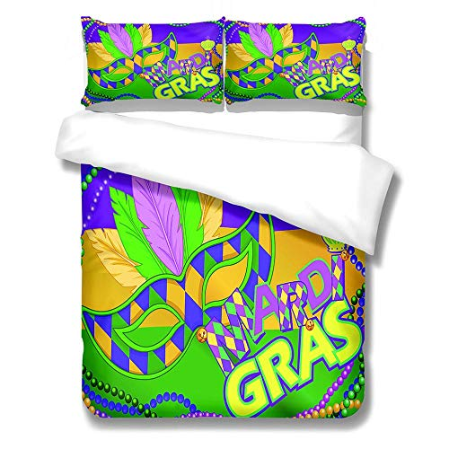 zzttyyz Bedding Set Duvet Cover Colorful mask Duvet Cover and Pillowcase, 3D Microfiber Kids Girls Teens Psychedelic Printing Art Bedspreads Bed Set 3 Piece 200x200cm