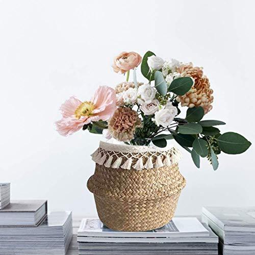QPOLLY Cesta Tejida de Algas Naturales, Cesta de Mimbre Tejida a Mano, Plegable Cesto de Almacenamiento, se Puede Utilizar como Cesta de lavandería/Maceta/Cesta de Flores/decoración de jardín (M)