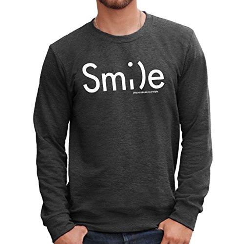 MUSH Sweatshirt Smile Ascii - LUSTIG by Dress Your Style - Herren-M-Grau