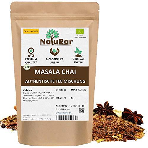 Bio Masala Chai Gewürzmischung vom NatuRar 70g | Perfekt Wintermischung für Masala Chai Tee | Indische Einzigartige Familienrezept