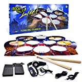 MUKIKIM Rock and Roll It – Drum Live. Roll Up Portable Drum Set for Kids & Adults. Practice Pad Kit for Beginners. Electronic Silicone Drum Practice Pad | Headphones | Pedals | Drum Sticks