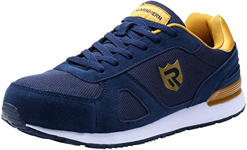 LARNMERN Men's Steel Toe Cap Work Safety Shoes Casual Breathable Outdoor Skateboard Shoes (8, Blue)