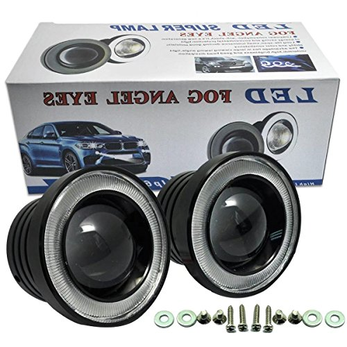 HonsCreat 2.5  Car COB LED Fog Light Projector White Angel Eye Halo Ring DRL Driving Bulbs White