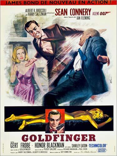 Posterlounge Stampa su Legno 50 x 70 cm: Goldfinger, Honor Blackman, Sean Connery di Everett Collection