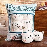 Eine plütige Tasche Katze Pudding Kissen Simulation Gefüllte Sandwich Weiche Kissen 8 Stück Katze Gefüllte Spielzeug für Kinder Geschenk für Freundin Laimi (Color : Blanco, Size : 35x45cm)
