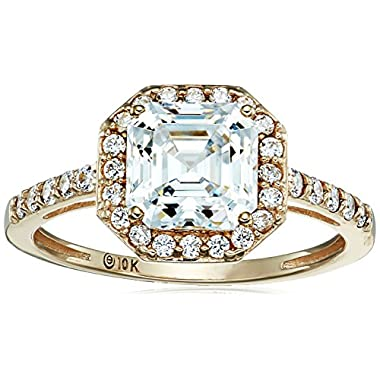 10k Yellow Gold Asscher-Cut Halo Ring made with...