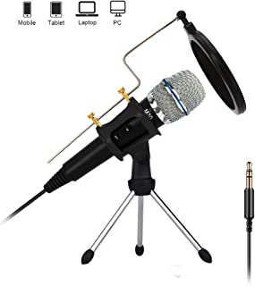 Professional Condenser Microphone Recording with Stand for PC Computer iPhone Phone Android iPad Podcasting, Online Chatti...