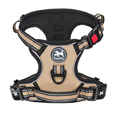 PoyPet No Pull Dog Harness, [Release on Neck] Reflective Adjustable No Choke Pet Vest with Front & Back 2 Leash Attachments, Soft Control Training Handle for Small Medium Large Dogs(Khaki,S)