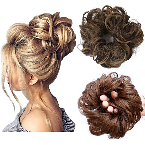 Messy Bun Hair Piece Thick Updo Scrunchies Synthetic Hair Extensions Ponytail Hair Wig Hairpiece Dark Brown with Golden Brown Highlight