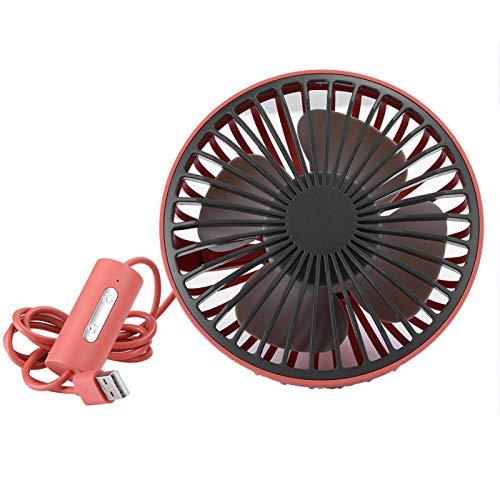 Mini Ventilador de Coche, 4 aspas de Ventilador Ajuste de rotación de 360 ° Velocidad de Viento de 3 Niveles Ventilador de Puerto USB Plug and Play Ajustable para Mesa de Coche