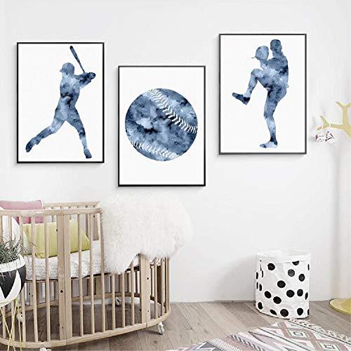 YDGG Leinwandbilder Home Poster Baseball Art Malerei Bild Boys Room Wall Decor-50x70cmx3 stücke kein Rahmen
