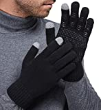 LETHMIK Mens&Womens Non-Slip Touchscreen Gloves Winter Warm Knit Wool Lined Texting Glove ,Mens Size (Superior Elasticity),Black (Silicone Non Slip Grip)