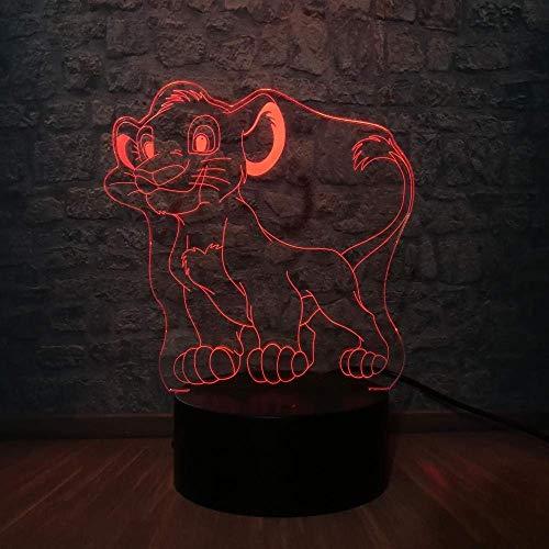 3D Night Light Touch Switch Led Simba Le Roi Lion Animal Cartoon Lampe Décor pour Chambre Enfants Atmosphère de Maison Lumière Enfant Cadeau