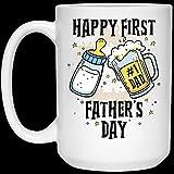 N\A 11oz Happy First Father 's Day Biberón Botella de Cerveza Regalos para papá Cerámica Halloween, Taza de café navideña 11oz