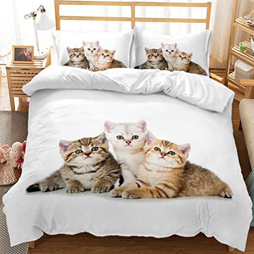 Funda de edredón con estampado de gato 3D, 100% microfibra suave, diseño de gato, ligero y duradero, con funda de almohada, ideal como regalo para niños y niñas (patrón G, 220 x 240 cm)