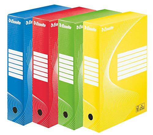 ESSELTE Boxy COLOR Scatola Archivio - Dim. 25 x 35 x 8 cm, Per i Documenti F.to A4, Riciclabile al 100 %, Certificato FSC, Confezione da 10 Pezzi, Colori Assortiti - 128403
