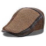 M MOACC Men's Winter Warm Thick Cotton Knit Ivy Gatsby Newsboy Hat Driving Flat Cap,Khaki #8208