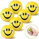 6 Bolas Antiestrés de Cara Divertida Sonrisa Mini Bola de Mano de Espuma PU de 1,57 Pulgadas Juguete de Sonrisa Aliviar Estrés para San Valentín (Amarillo)