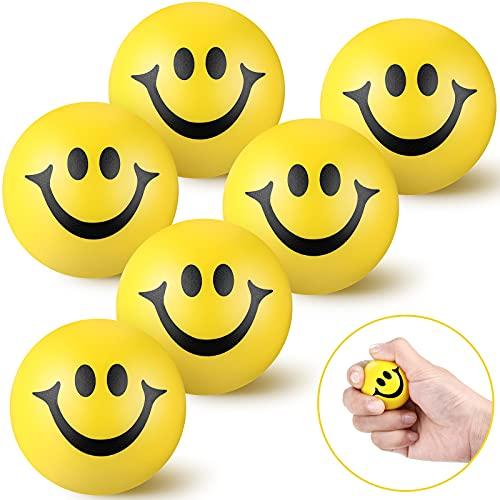 6 Stücke Stressbälle für Erwachsene Kinder Gelbes Lächeln Lustiges Emoji Gesicht Stressbälle Squeeze Bälle1,57 Zoll Mini Schaum Kugeln Lächeln Stressball Partytasche Füllstoffe für Party Bevorzugungen