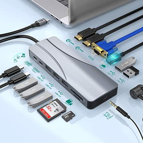 14 en 1 Hub USB C Triple Display Hub estación de Acoplamiento con 2 HDMI 4K, VGA, Gigabit Ethernet, PD Tipo C, SD TF, 5 Puerto USB, Audio, Dock USB C Compatible para computadora portátil USB C