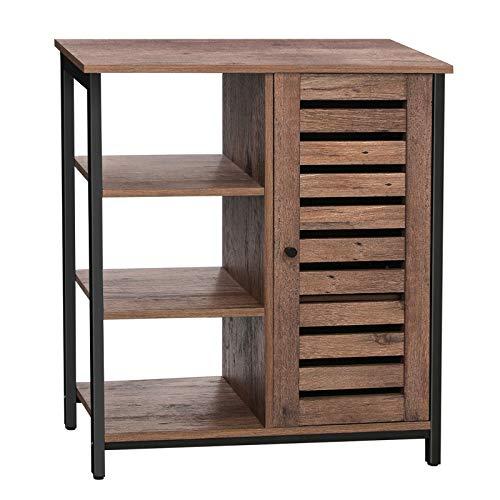 VASAGLE Sideboard, Küchenschrank mit 3 offenen Ablagen, Badezimmerschrank, Wohnzimmer, Flur, Küche, Homeoffice, Stahlgestell, Industriestil, haselnussbraun-schwarz LSC74GD