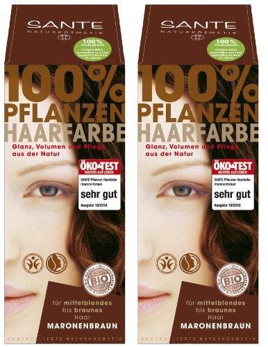 Sante Pflanzenhaarfarbe Haarfarbe im Doppelpack maronenbraun 2 x 100 g im Set für ein tolles Farberlebnis