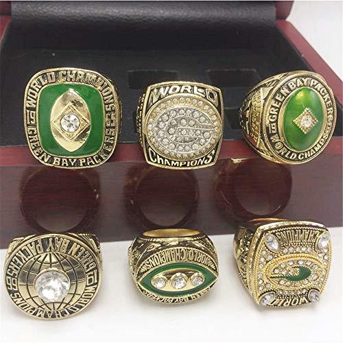 WANZIJING Set von 6 Championship Replica Ringe, Green Bay Packers Gold-Super Bowl XXXI XLV & Liga Ring Größe 14.8 mit Vitrine,9