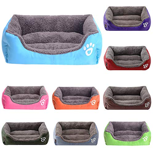 Gamloious - 10 Colors Paw Pet Sofa Dog Beds Waterproof Bottom Soft Fleece Warm Cat Bed House Cama Perro M 1pc blue