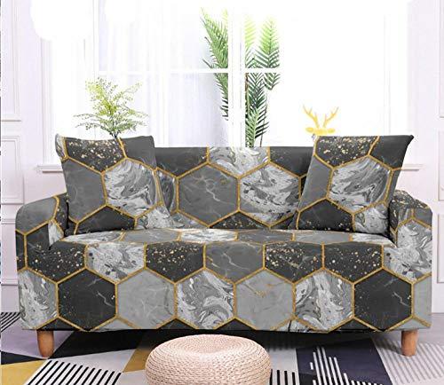 Funda de Sofá Elastica 4 Plazas Patrón De Mármol Gris 3D PoliéSter Spandex Universal Ajustable Cubre Sofas Antisuciedad Antideslizante Protector Cubierta Muebles con Cuerda de Fijación