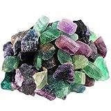 mookaitedecor Piedras de fluorita violeta, verde, piedras preciosas minerales para familia, oficina, jardín, acuario, decoración, cristal Reiki y curación (460 g)