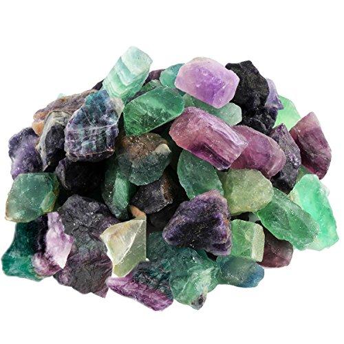 mookaitedecor Violett grüner Fluorit Rohstück Steine, Mineral Edelsteine für Familie/Büro/Garten/Aquarium Dekoration Schmückung, Kristall Reiki & Heilung (460g)