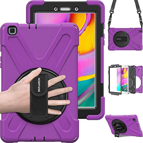BRAECN Samsung Galaxy Tab A 8.0 T290/T295 Case - Hybrid Rugged Shockproof Case Cover with Hand Strap, Shoulder Strap,Kickstand for Samsung Galaxy Tab A Tablet 8.0 Inch 2019 Model (Purple)