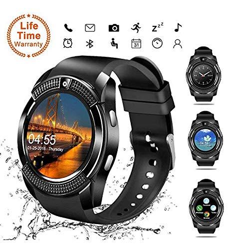 Smartwatch Bluetooth, touch screen, orologio da polso con slot per fotocamera/scheda SIM, impermeabile, sportivo, fitness tracker, compatibile con telefoni Android e Samsung V8
