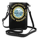 IUBBKI South Dakota État drapeau Logo en cuir téléphone sac à main nouveauté téléphone portable pochette portefeuille bandoulière sac à bandoulière porte-clés