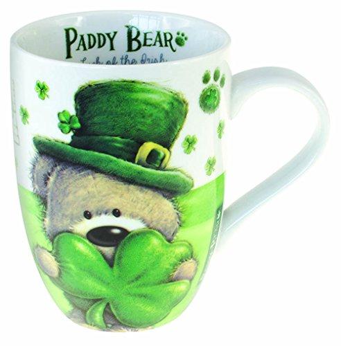 Taza con diseño irlandés de oso de Papá Noel con diseño de trébol y texto en Irlanda