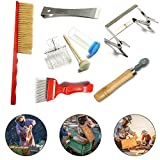 jiele 7 PCS Beekeeping Tool Kit Bee Brush Uncapping Fork Queen Catcher Spur wire Embedder Frame Holder Bee...