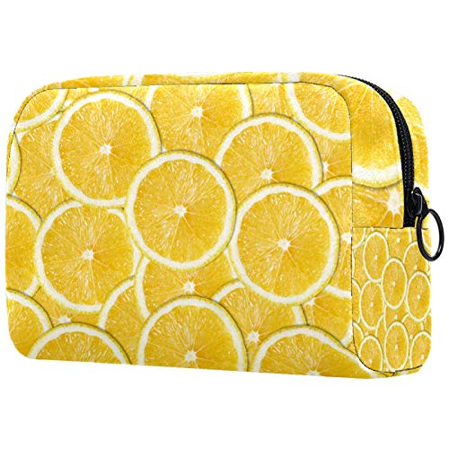 Cosmetic Bag Womens Makeup Bag for Travel to Carry Cosmetics Change Keys etc,Yellow Lemon